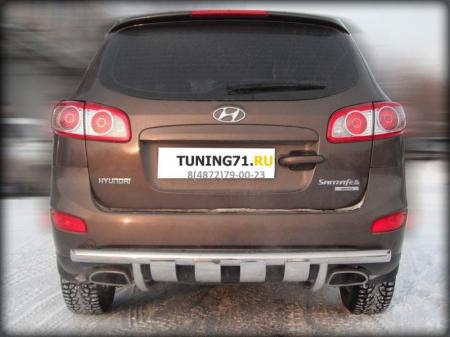 Hyundai Santa Fe 2010-2012г.в.-Защита заднего бампера d-60 радиусная с накладками